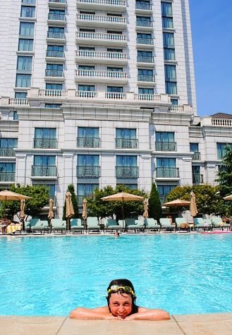 Grand America Hotel outdoor swimming pool, Salt Lake City, Utah.  A vacation doesn't need to be far from home!