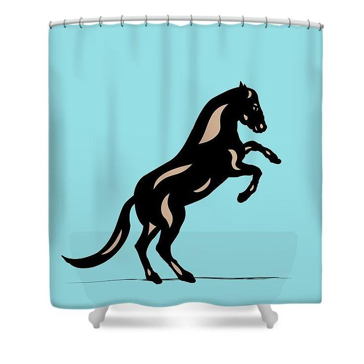 "Shower Curtain ""Emma II - Pop Art Horse - Black, Hazelnut, Island Paradise Blue"" by Manuel Süess | More: http://artprintsofmanuel.com/products/emma-ii-pop-art-horse-black-hazelnut-island-paradise-blue-manuel-sueess-shower-curtain.html"