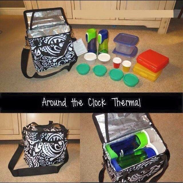The Thirty-One Gifts Around the Clock Thermal can store enough snacks and drinks to last all day! Great for the 21 day fix! www.jennpennbags.com