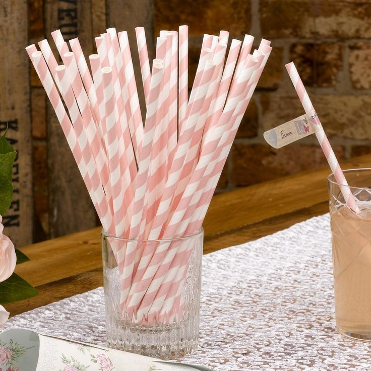 Pack of 30 cute and pretty pastel pink and white straws.  Perfect for adding a special touch to a long drink at your vintage wedding or vintage celebration. £2.99 pack of 25 paper straws from www.fuschiadesigns.co.uk.