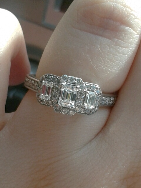 three stone emerald cut halo engagement ring helzberg diamonds love it body candy pinterest halo anniversary rings and diamond anniversary rings - Helzberg Wedding Rings
