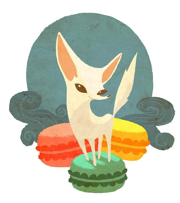 Fennec Fox and Macarons by ~entdroid