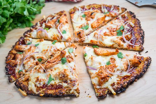 Cauliflower Pizza Crust (with BBQ Chicken Pizza) - I am going to try this someday, and maybe I can actually have pizza again!