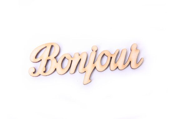 "BONJOUR wooden sign 2,7"" x 1,2"", bedroom decor, french quote, good morning, love, scrapbooking, decoupage, gift for friend, unfinished wood"