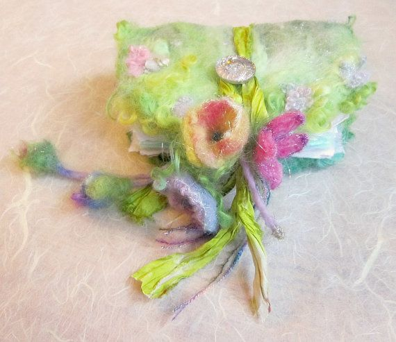 felted wool journal art book  - enchanted forest art diary - spring fairytale garden