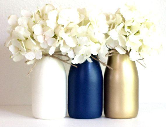 Navy and Gold Baby Shower Decorations Baby Shower Centerpiece Flower Vase Gender Neutral Nursery Decor Half Pint Painted Milk Bottles