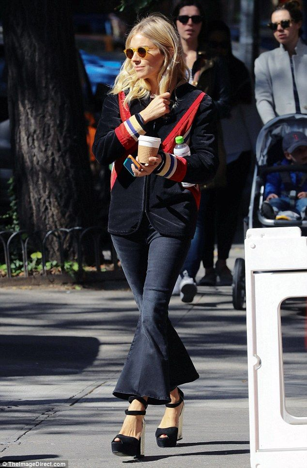 Big closet: Later, Sienna was spotted out and about in a slight variation on her earlier o...