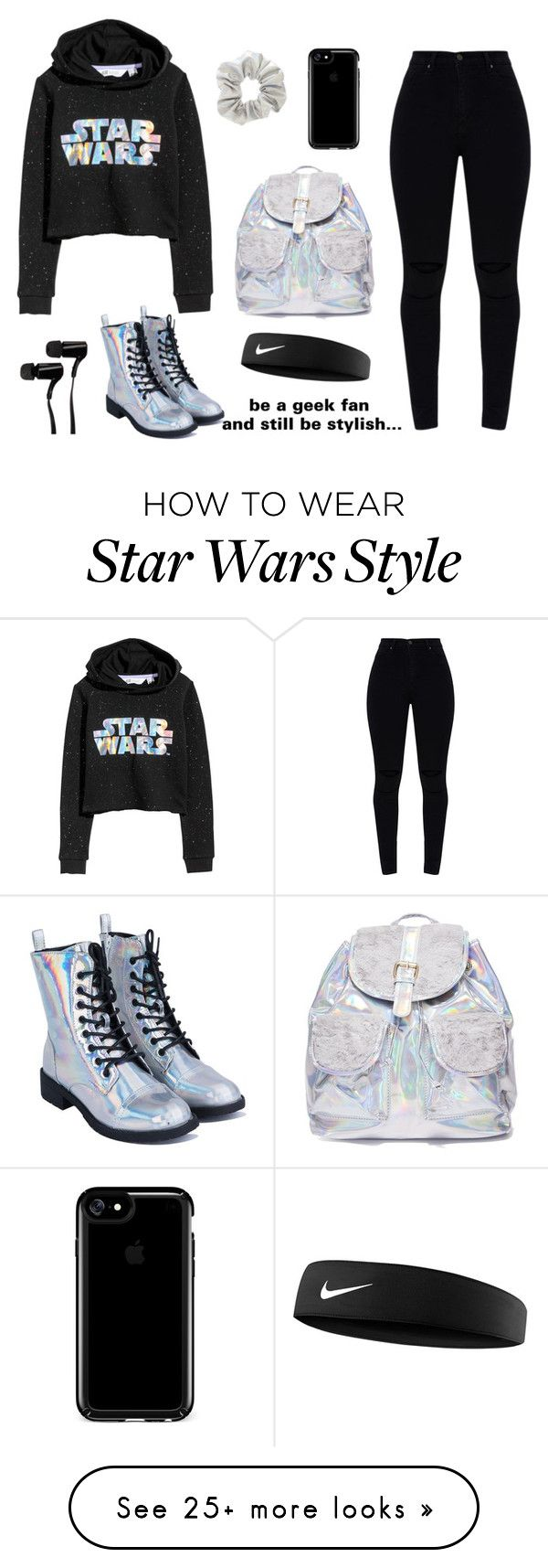 """STAR WARS 2"" by at-39thst-fashion on Polyvore featuring H&M, 3 AM Imports, Speck, Outdoor Tech, NIKE, black, holographic and starwars"