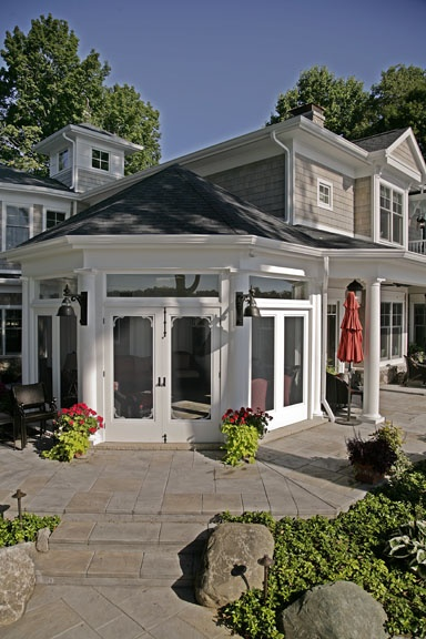 Octagonal sunroom. Custom lake home built by Martin Bros. Contracting, Inc., Goshen.