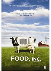 'Food Inc.' documentary. My grocery choices have changed for environmental and personal health reasons! Local foods are the way to go! + composting to reduce unnecessary waste + reusing cloths/water bottles. --- shocking messages: the meat processing market (ie. corn-fed cows, e.coli growth, & ammonia to kill it), company's market control on the meat industry, corn makes...everything! etcetera.