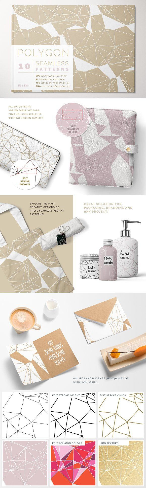 Polygon Patterns by Youandigraphics on @creativemarket