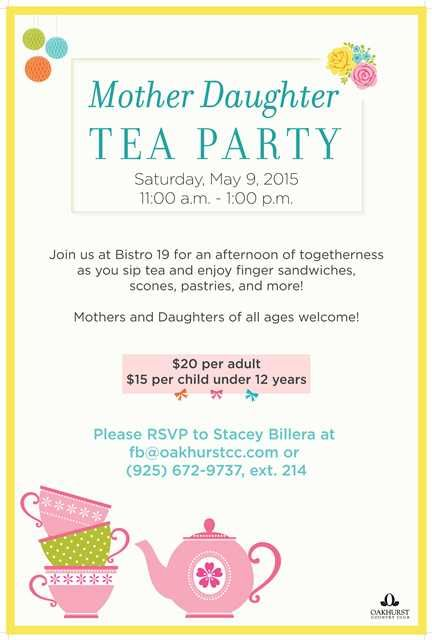 Mother Daughter Tea Party poster flyer template at Oakhurst Country Club in Clayton, CA