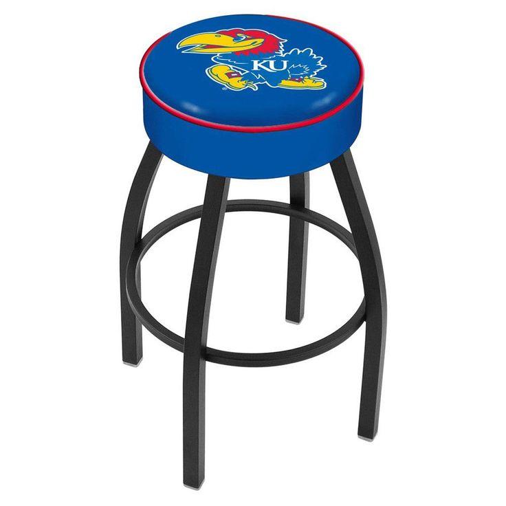 Kansas Jayhawks Black Wrinkle Swivel Bar Stool