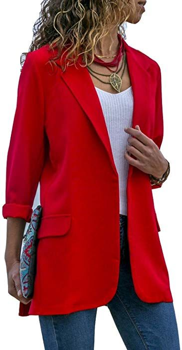 2b1e0d8f3d Asskdan Women s Ladies Open Front Long Sleeve Work Office Blazer Jacket  Cardigan Casual Basic OL Blazer Suit (Red