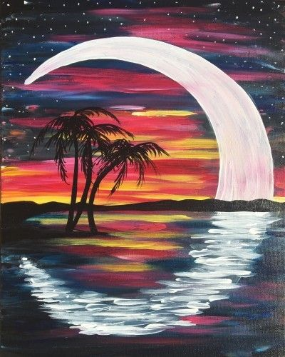 Crescent moon painting surrounding palm trees at sunset.