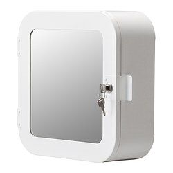 I like this lockable small mirror cabinet.  I am thinking that one for each person.  When so much is shared in a small space, it is nice when some places are not.