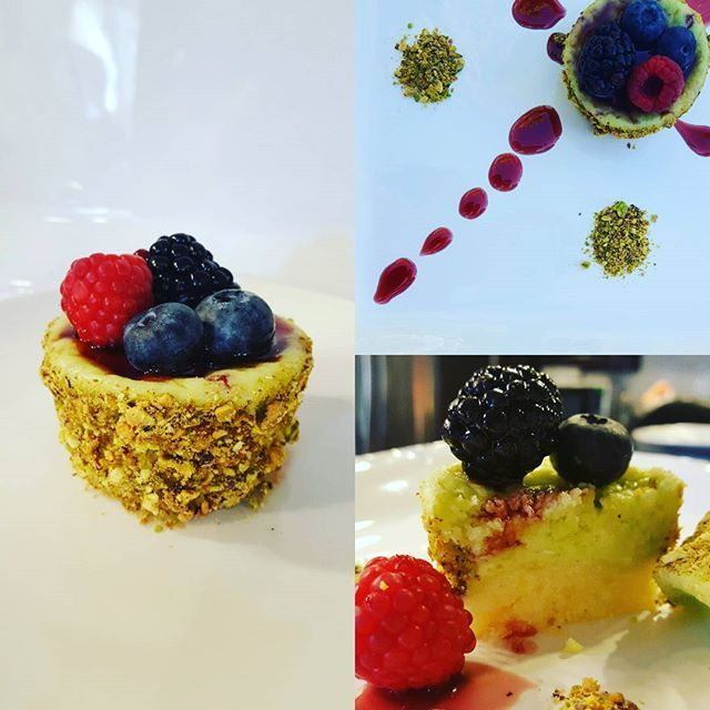 Gluten-free pistachio cheesecake with a persian rice cookie (shirini berenji) crust and sour cherry reduction.  #baklava #ilovedessert #bakery #sweettreats #unicornofbaklava #dessert #desserts #persian #sweets #middleeastern #bakedgoods #pistachio #sandiego #cheesecake #ricecookie #rosewater #pastry #pastries #glutenfree #cake #foodie #foodies #youstayhungrysd #eatsandiego #tastingsandiego #sdpulse #wheresandiego