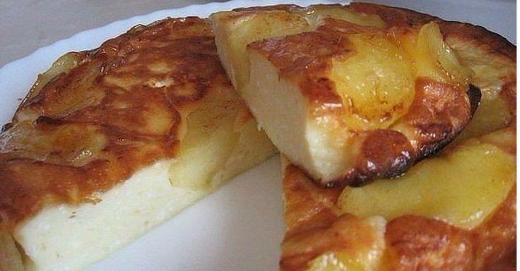 Obraceny jablečný koláč s tvarohového těsta