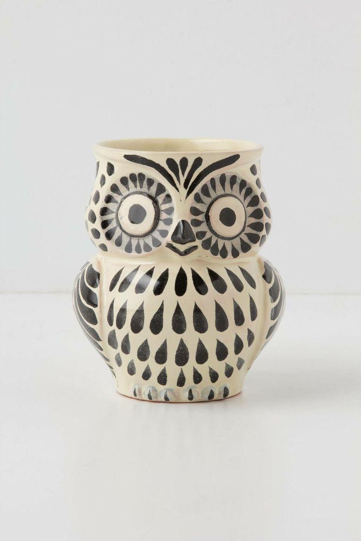 Handpainted Folk Owl Mug Pinned by www.myowlbarn.com