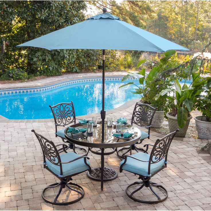 5piece dining set in blue with 48 in glasstop table 9 ft table umbrella and umbrella stand blue size 7piece sets patio furniture aluminum