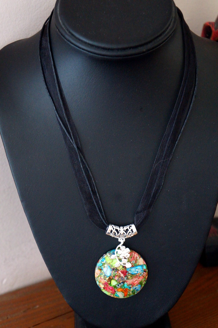 Charming Rainbow Sea Sediment Jasper & Pyrite Round Pendant Bead with organza necklace