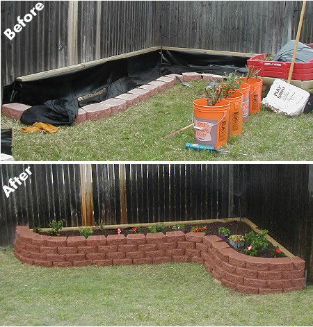 Brick raised flower bed woodworking projects plans for Raised flower bed ideas front of house