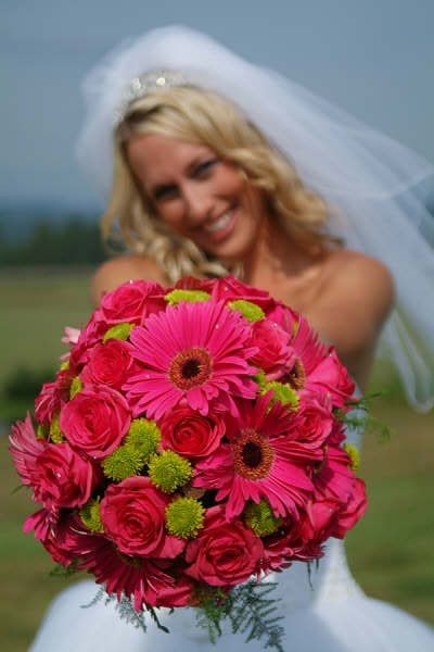Bouquet Bridal: Pink Gerbera and Rose Wedding Bouquet
