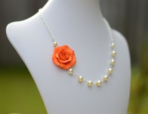 FREE EARRINGS Orange Rose Necklace Bridesmaid Necklace by Diaszabo, $29.00