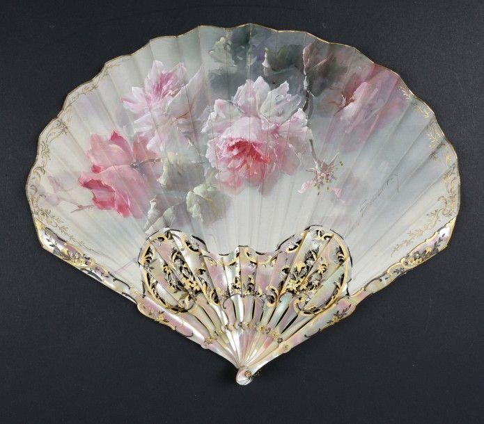 1900 Fan 'Roses in Bloom' for Duvelleroy signed Billotey