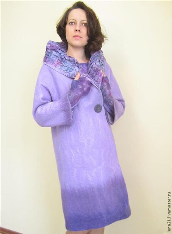 Купить сиреневое пальто(возможно+платье+митенки) - сиреневый, однотонный, пальто-комплект, реглан, ручная работа, Мокрое валяние