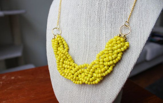 Yellow Statement Necklace with Gold Chain Yellow by ChloeAndEvie