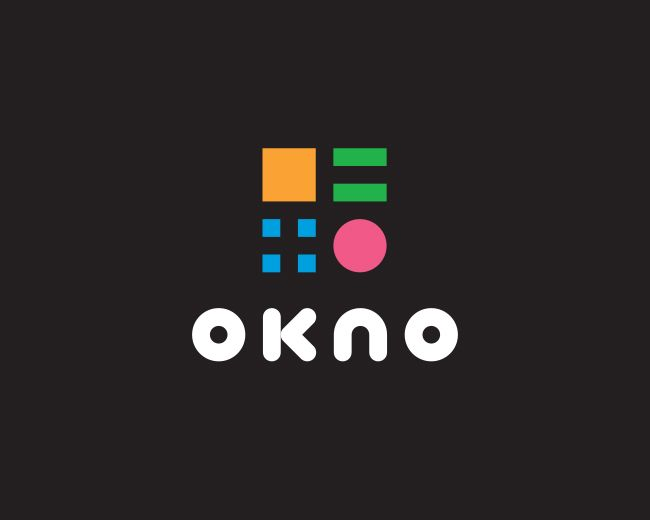 OKNO - Logo Design - Logotype, Logomark, Geometric Shapes, Square, Squares, Cricle, Dot, Round, Black & White, Bright Colors