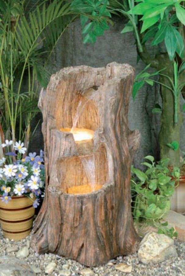 Tree Stump Cascade Water feature but with plants and my big stump as a two level pond!