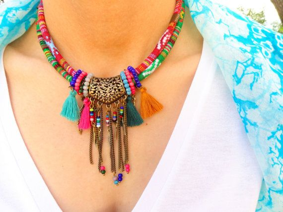 Fabric cord necklace, ethnic cord necklace, aztec jewelry, bohemian jewelry, boho necklace, textile wrap cord, rope necklace african jewelry