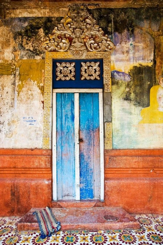 #Colorful Cambodian #Door   WORLDY DESIGN: THE RED, DIRT ROADS OF CAMBODIA by Kim Lewis #travel