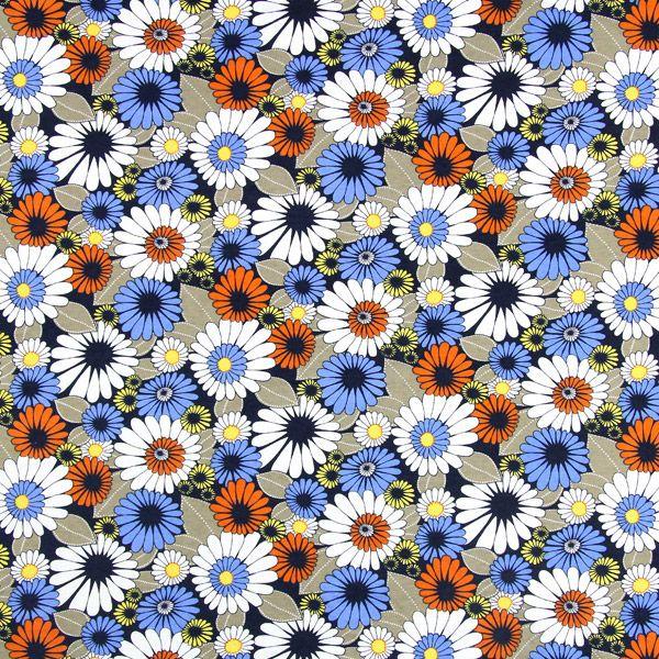 Jersey Big Flowers - färgmix - Jersey med blomster - Klädtyger - REA - tyg.se