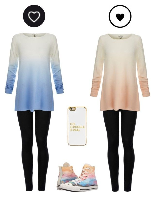 """""""Right or left?"""" by kenidiaka ❤ liked on Polyvore featuring Wolford, Joie, Converse and BaubleBar"""
