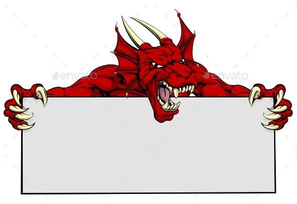 Red Dragon Sports Mascot Sign by Krisdog A mean looking red dragon mascot holding a sign