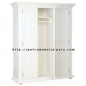 Almari Baju Minimalis 3 Pintu Cat Duco Putih Lemari Mebel