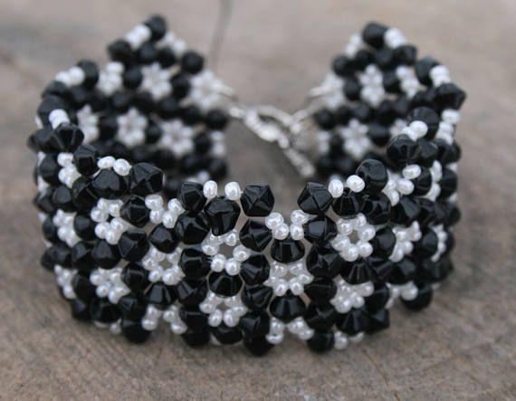 Black lace  elegant white cream black preciosa seed beads