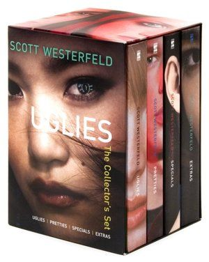 The Uglies Series is so good! Really well written, I would recommend for people that like young adult books and Science Fiction books. Just read them. (Uglies, Pretties, Specials, Extras)
