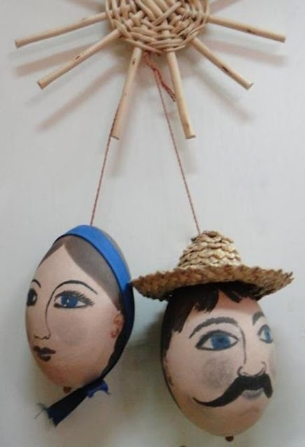 Girl and Boy Painted Ukrainian Easter Eggs