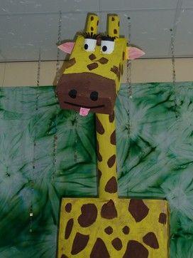 #knutselen, kinderen, basisschool, giraf, groepsproject, kartonnen doos, wc-rol, toiletpapier rol, tutorial, lesplan