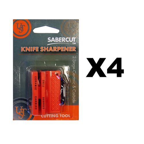 Ultimate Survival Technologies Ceramic Knife Sharpener Orange w/Carbide (4-Pack)