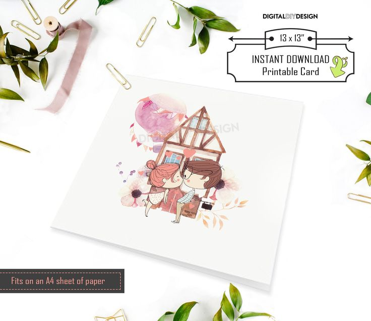 Cute illustrated couple kissing in front of house.  Perfect for a housewarming or Valentine's card.