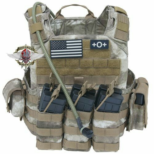 1. TAG Shellback Tactical Banshee Plate Carrier 2. TAG Banshee Shoulder Pad Accessory Set 3. TYR Tactical Small 50oz/1.5L Hydration 4. TAG Source 50oz/1.5L Hydration Bladder 5. (1) Esstac M4 KYWI Triple Magazine Pouch
