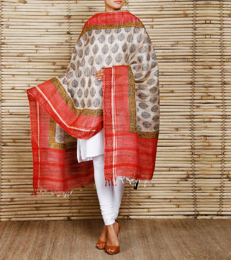 Beige & Red Hand Block Printed Silk Dupatta