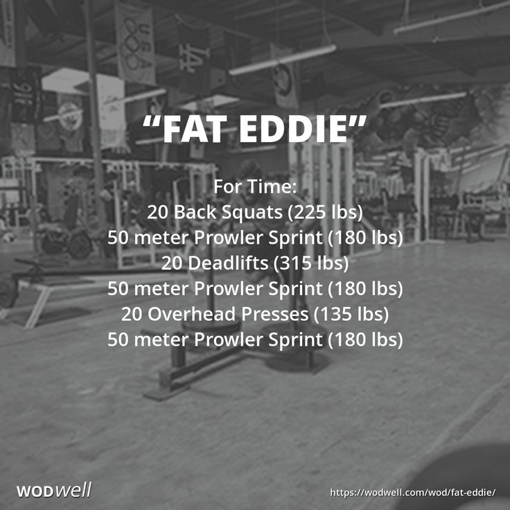 """FAT EDDIE"" WOD: For Time: 20 Back Squats (225 lbs); 50 meter Prowler Sprint (180 lbs); 20 Deadlifts (315 lbs); 50 meter Prowler Sprint (180 lbs); 20 Overhead Presses (135 lbs); 50 meter Prowler Sprint (180 lbs)"