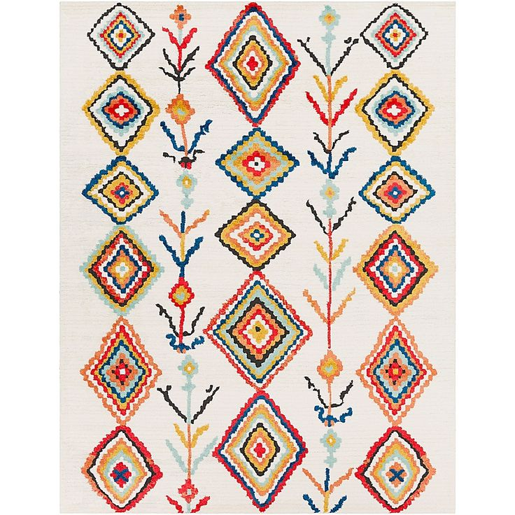 Surya Moroccan Shag Southwestern 7 10 X 10 3 Area Rug In Yellow White White Multi Red Rugs Area Rugs Orange Area Rug
