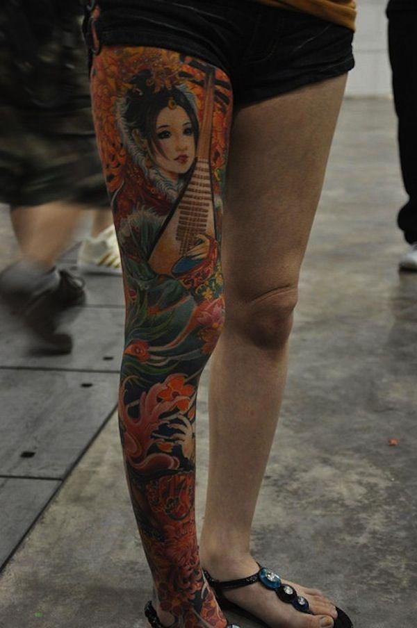 New Leg Sleeve Japanese Tattoo Designs for Girls